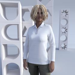 "Women Polo Shirt Set-in Long Sleeves ""Hamilton"""