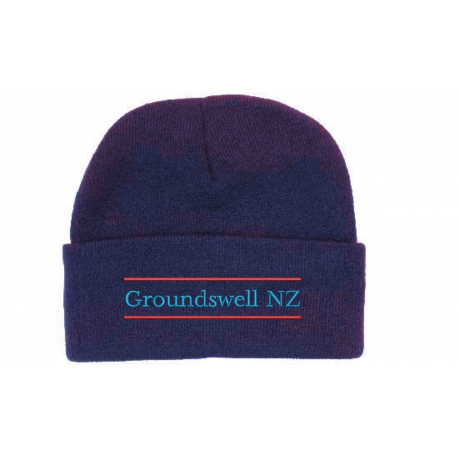 navy wool acrylic beanie with colour groundswell embroidery
