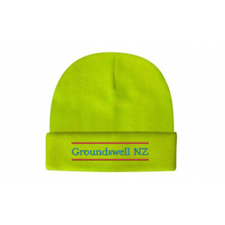 yellow wool acrylic beanie with colour groundswell embroidery
