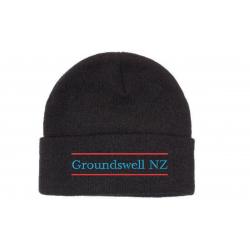 black wool acrylic beanie with colour groundswell embroidery