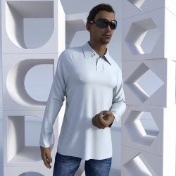 Long-sleeve Polo shirt with raglan sleeves